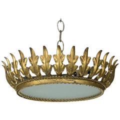 Mid-Century Spanish Sunburst  Gilt Crown Ceiling Fixture