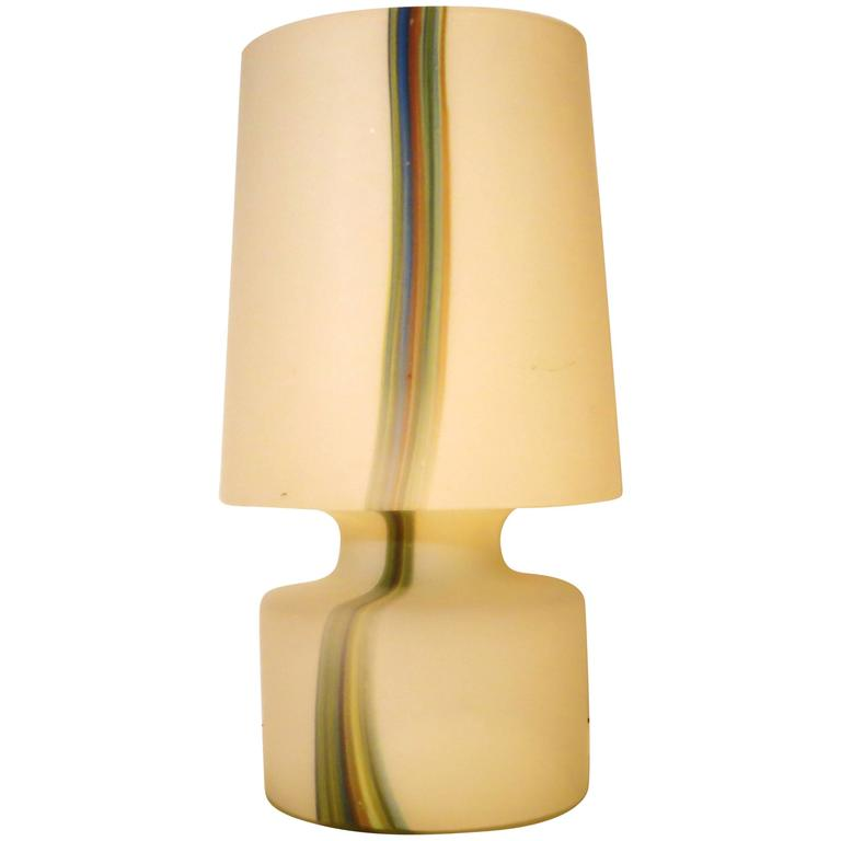 1970s Tall Murano White Frosted Glass Table Lamp With Rainbow Stripe For  Sale