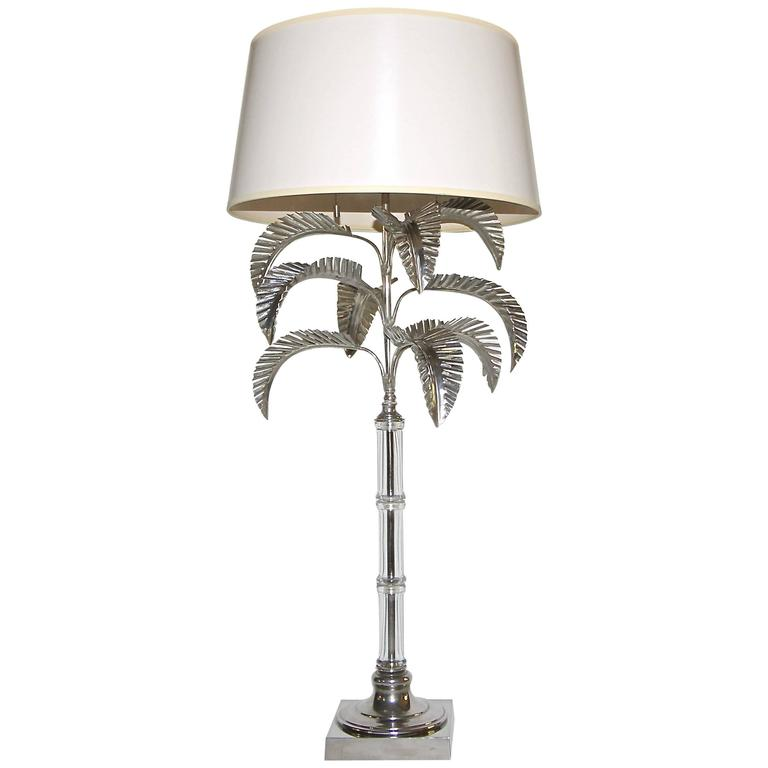 Tall nickel plated glass palm leaf table lamp at 1stdibs tall nickel plated glass palm leaf table lamp for sale aloadofball Image collections