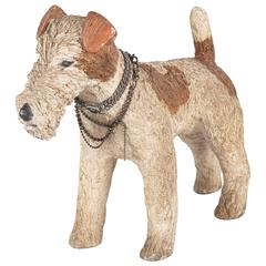 French Fox Terrier Dog Life-Size Resin Figurine, 1930s