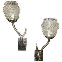 Pair of Moderne Silver Plated Sconces