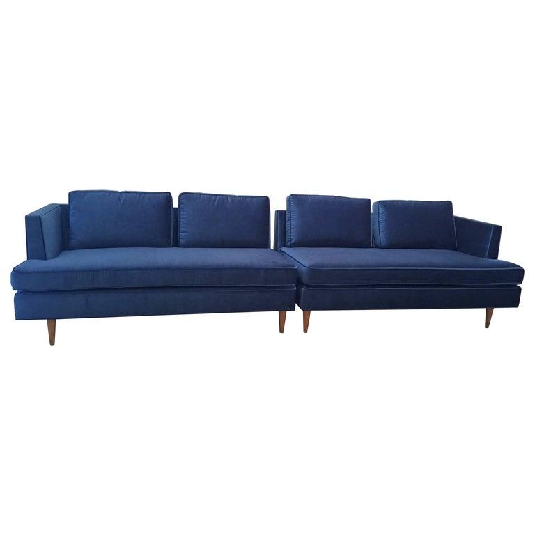 Edward Wormley Sectional Sofa for Dunbar in Blue Velvet For Sale