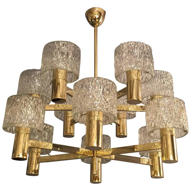Orrefors Swedish Brass And Glass Chandelier For