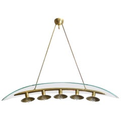 Fontana Arte Pietro Chiesa Five-Light Chandelier Glass and Brass