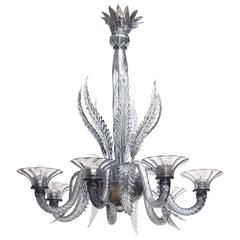 Venini Pale Blue Blown Murano Glass Italian Chandelier, 1920s