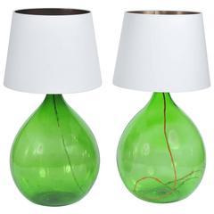 Pair of Vintage Handmade Green Demijohn Glass Bottles Table/Floor Lamps