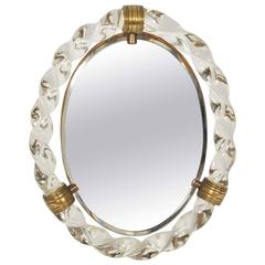 1950s Italian Oval Dressing Table Mirror