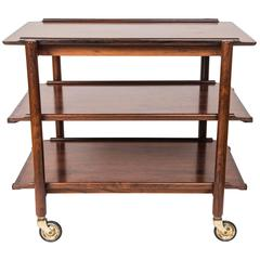 Danish Modern Rosewood Bar Cart by Poul Hundevad, circa 1960s