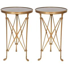 Pair of Directoire Style Granite Top Side Tables, France, circa 1960