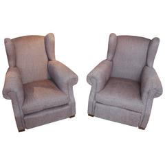 Pair of 1920s French Large Wingback Club Chairs
