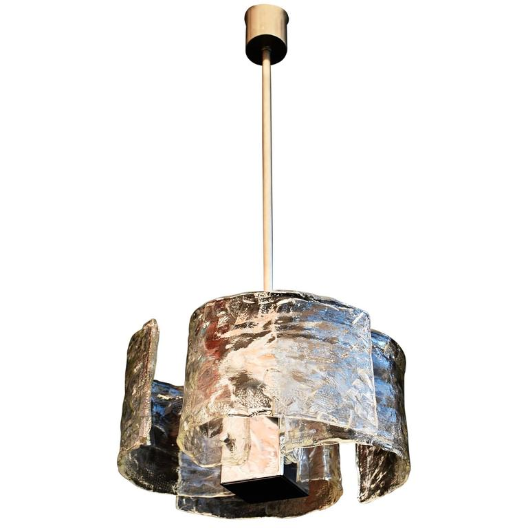 Beautiful and Elegant Handblown Murano Glass Light Design by Mazzega
