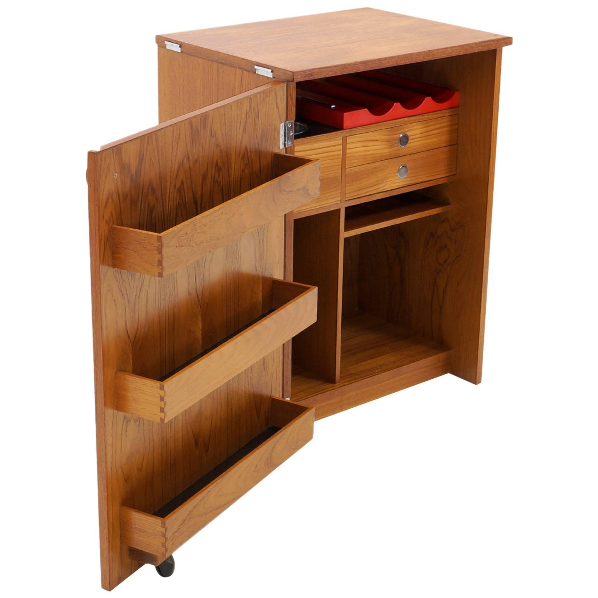 Erik buch portable bar cabinet or bar cart on casters teak all original for sale at 1stdibs