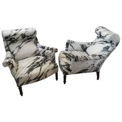 Pair of Antique French Scroll Back Chairs