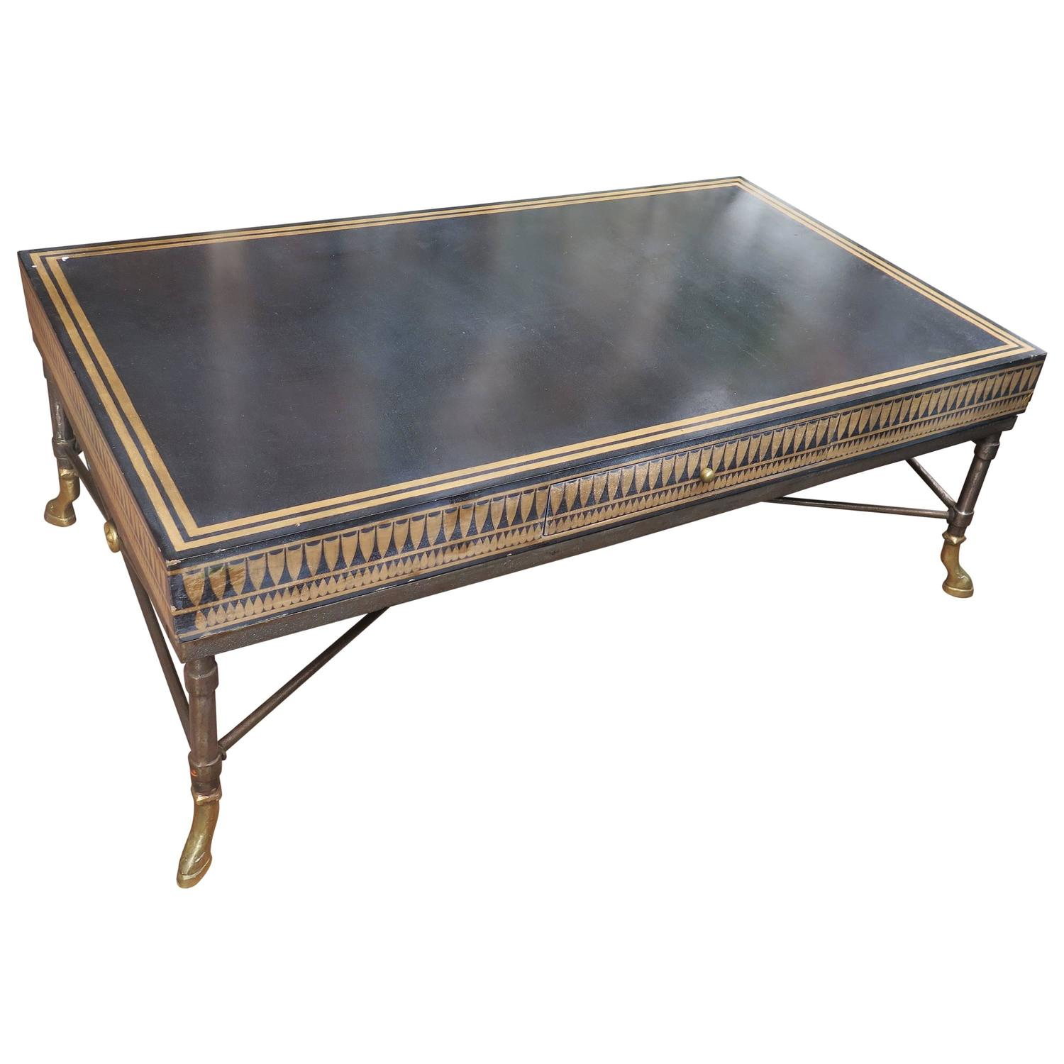unique coffee table with bronze feet black and gold top. Black Bedroom Furniture Sets. Home Design Ideas