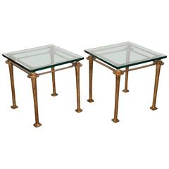 Pair of Gilded Bronze End Tables in the Manner of Diego Giacometti
