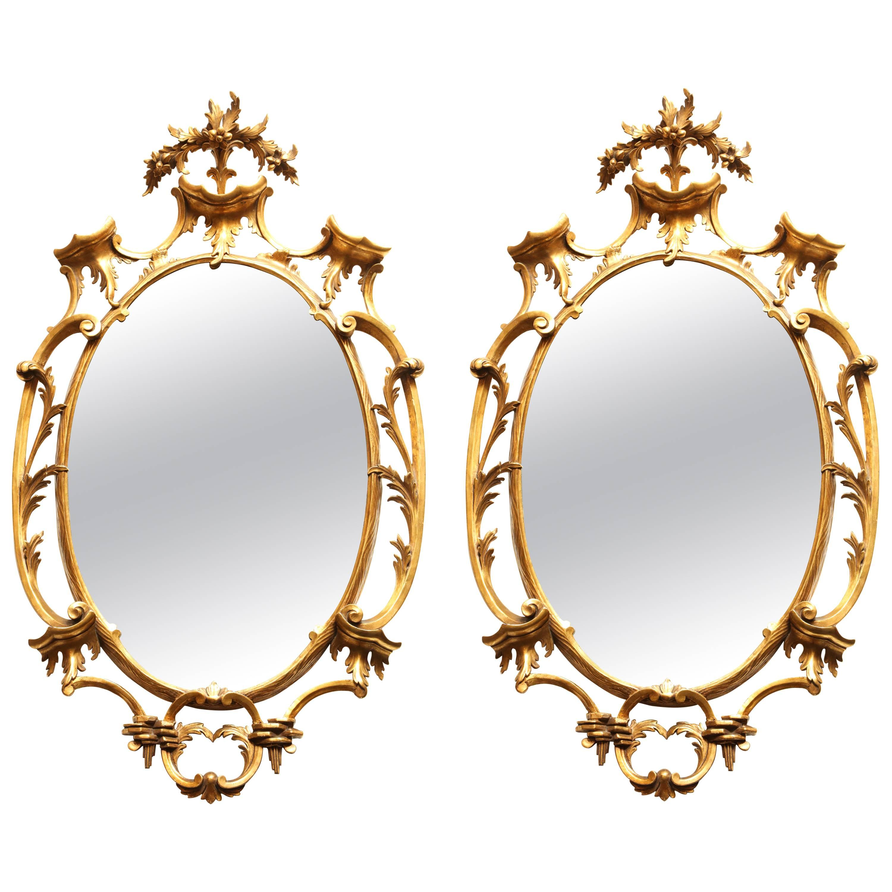 Pair of Carved Gilt Mirrors