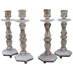 Set of Four Rock Crystal Candelabras