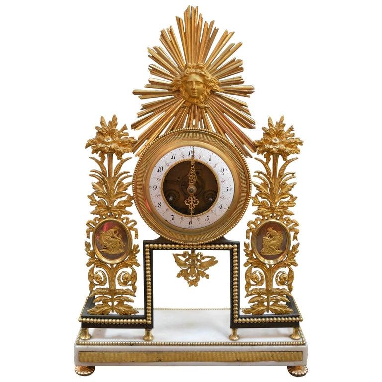 19th Century Sunburst Clock For Sale