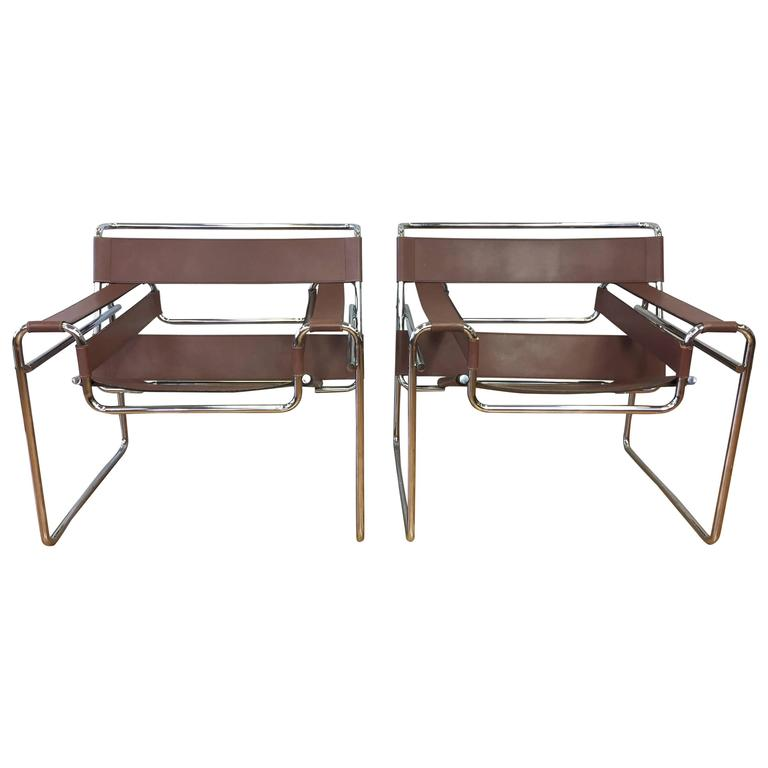 pair of marcel breuer wassily chairs by gavina for knoll. Black Bedroom Furniture Sets. Home Design Ideas