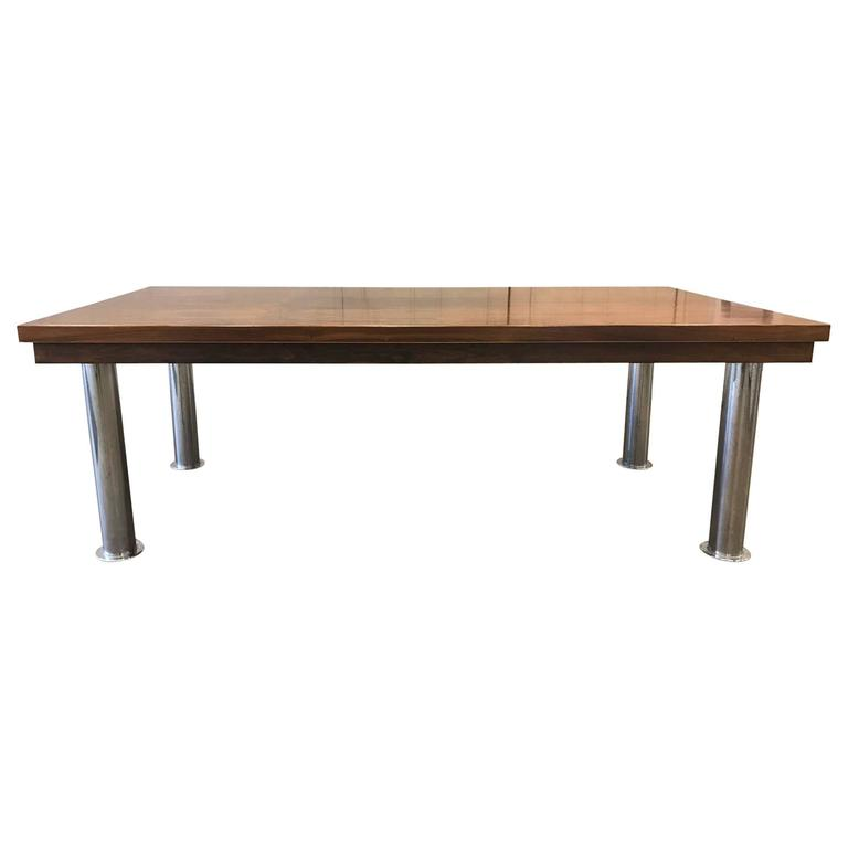 Rosewood and Chrome Conference Table