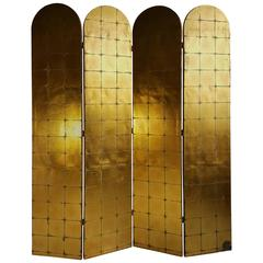 Highly Decorated Four-Panel Folding Screen /Divider, Gold Leaf, Made in Italy