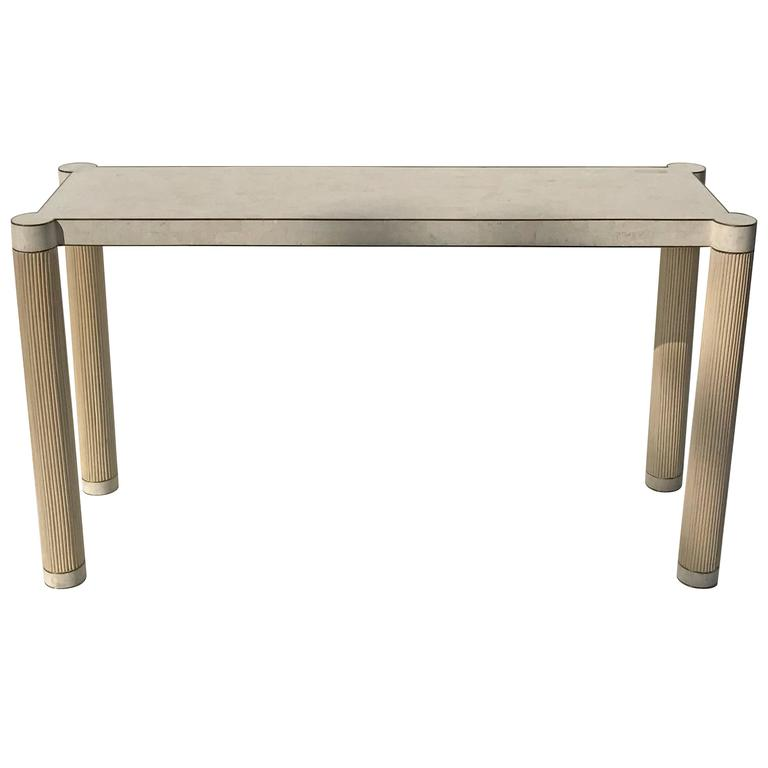 Tessellated Stone and Brass Console or Sofa Table Attributed to Maitland-Smith