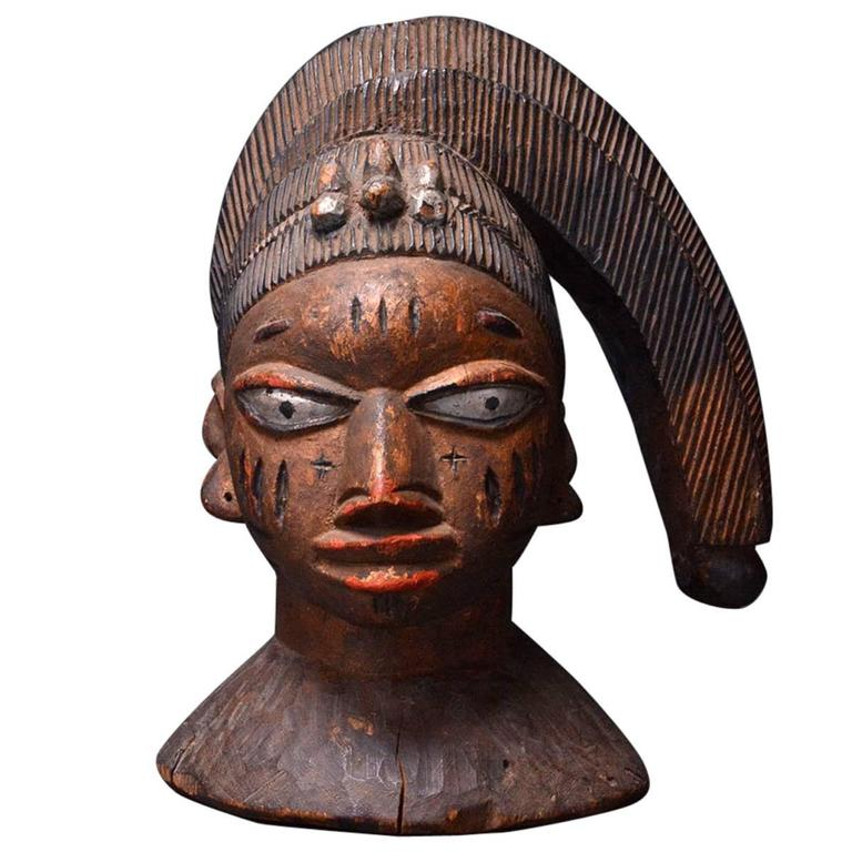 African Yoruba Wooden Polychrome Egungun Headdress Mask