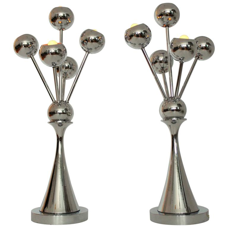 Pair of Tall Chromed Sputnik Table Lamps, Mid Century, 1970s, USA