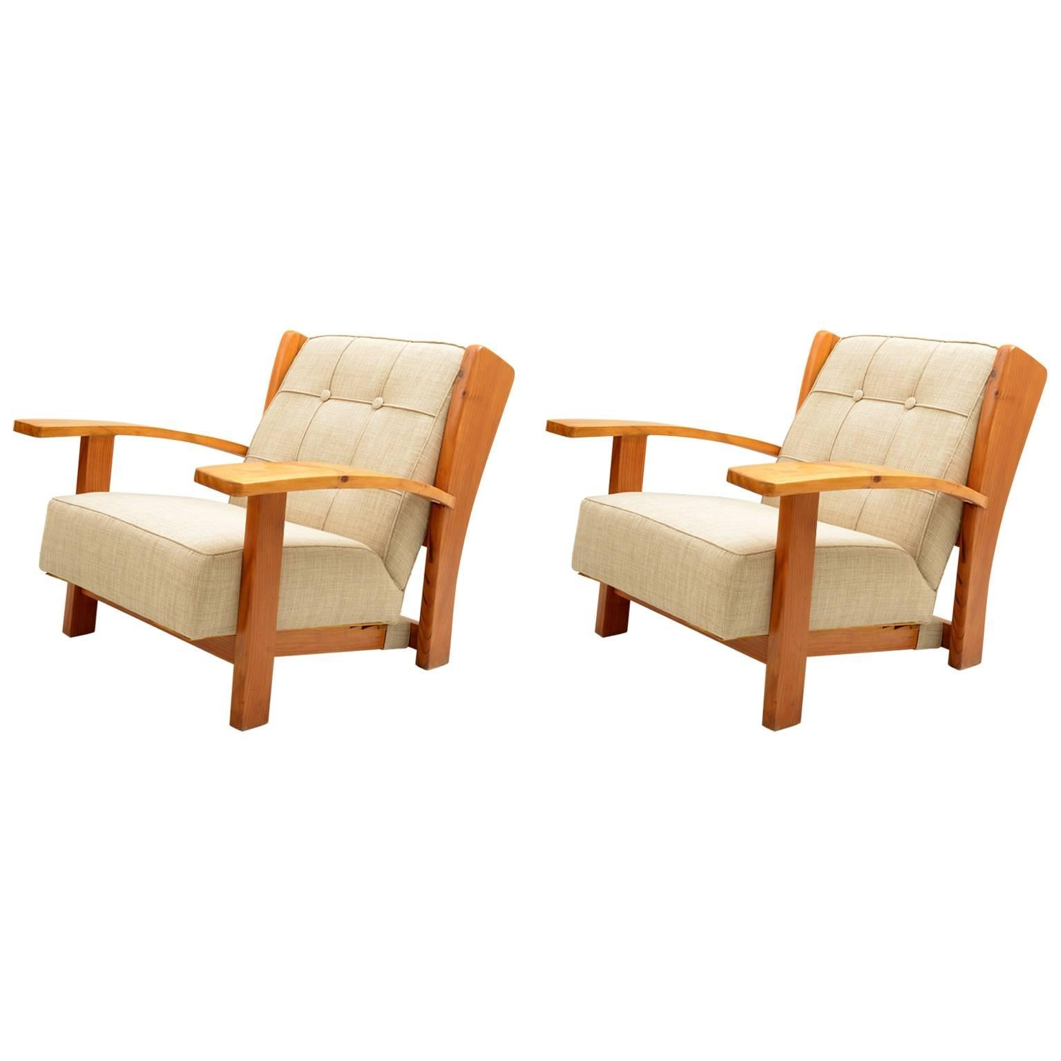Mid century Pair of Italian Solid Larch Reclining Armchairs, Florence, 1940s