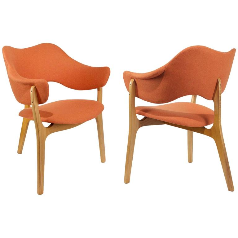 1954s Kjell Hjall and Bjarne Stave Pair of Armchair Edition More Lenestolfabrikk 1