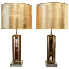 Pair of Brass and Chrome Table Lamps by Willy Daro, circa 1970