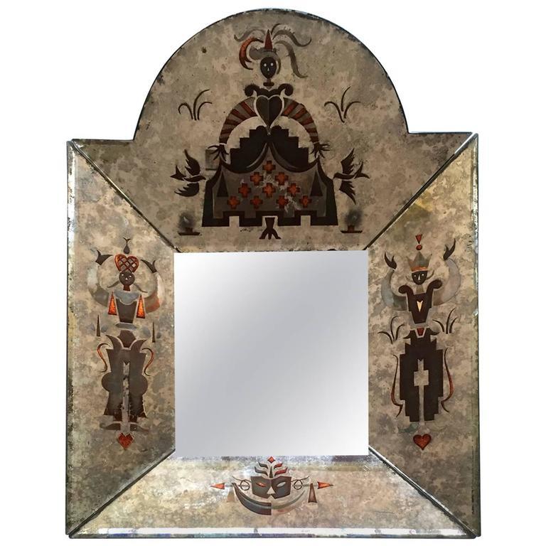 Small Unusual 1940s Verre Églomisé Mirror 1