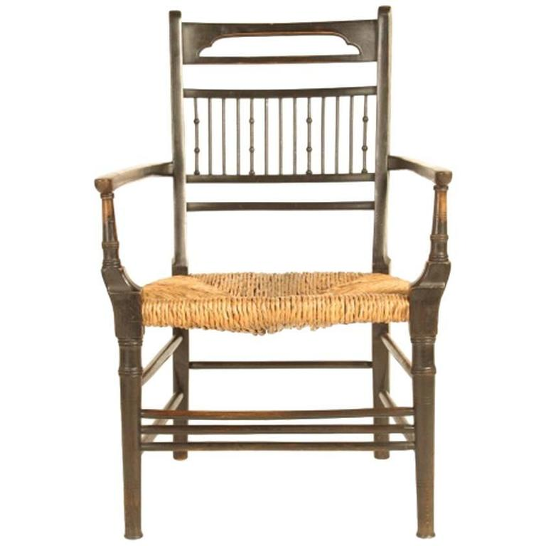 Anglo-Japanese Walnut Spindle Back Armchair, Attributed to E W Godwin