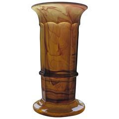 George Davidson, Cloud Glass Column Vase, Amber, Art Deco Period, circa 1930s