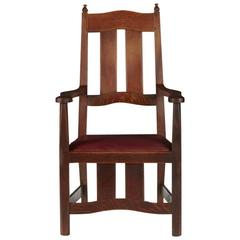 Rare Arts and Crafts Oak Armchair by W R Lethaby