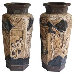 Pair of Large Pottery Vases by Bretby with Oriental Scenes, English Circa 1914