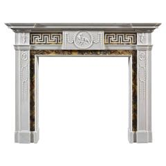 Antique George III Neoclassical Siena and White Marble Fireplace Mantel