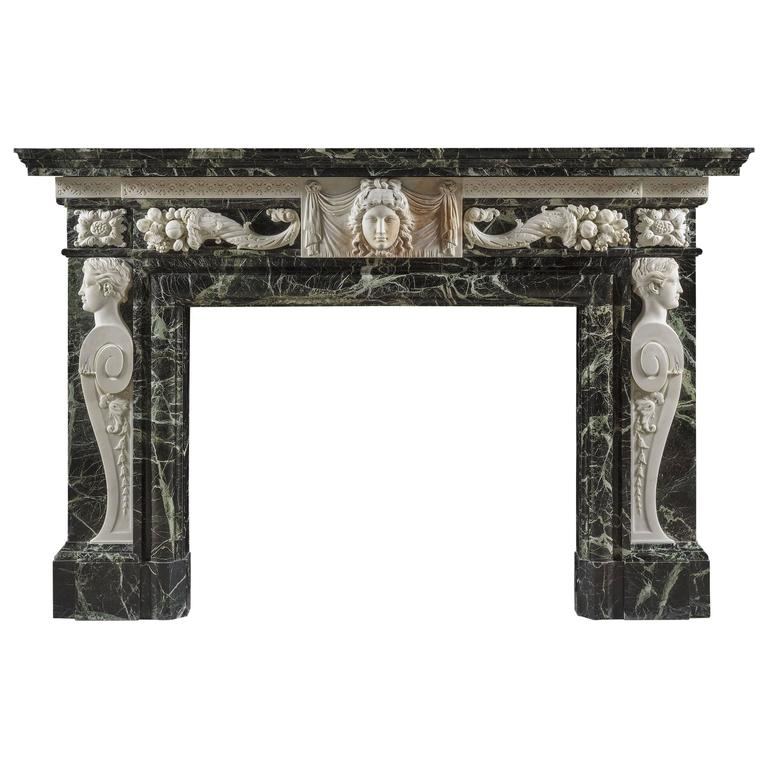 Antique Late Baroque Verdi Antico and White Marble Fireplace Mantel 1