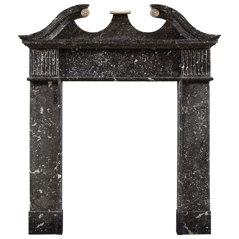 French Regency Antique Fireplace Mantel In Fine Portoro Marble For