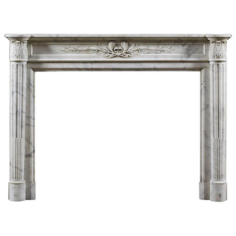 Antique French, Louis XVI Carrara Marble Fireplace Mantle For Sale