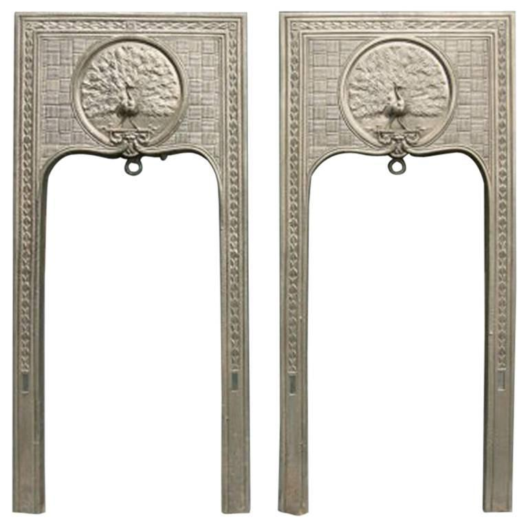 Pair of Aesthetic Movement Cast Iron Fireplaces, Attributed to T Jeckyll
