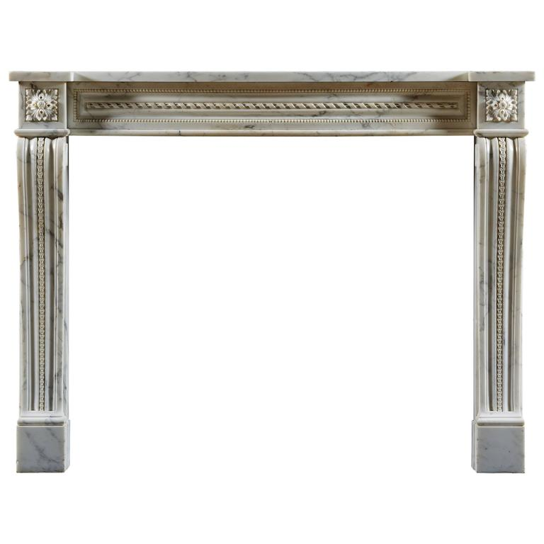 Antique Louis XVI Style Marble Fireplace Mantel For Sale