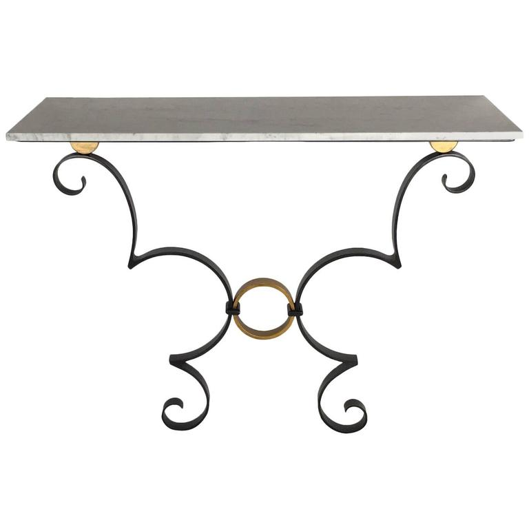 Exceptionnel Handmade Iron Work Black And Gold Console Table With White Carrara Marble  Top For Sale