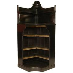 Ebonized Open Corner Cabinet, Attributed to Collinson and Lock