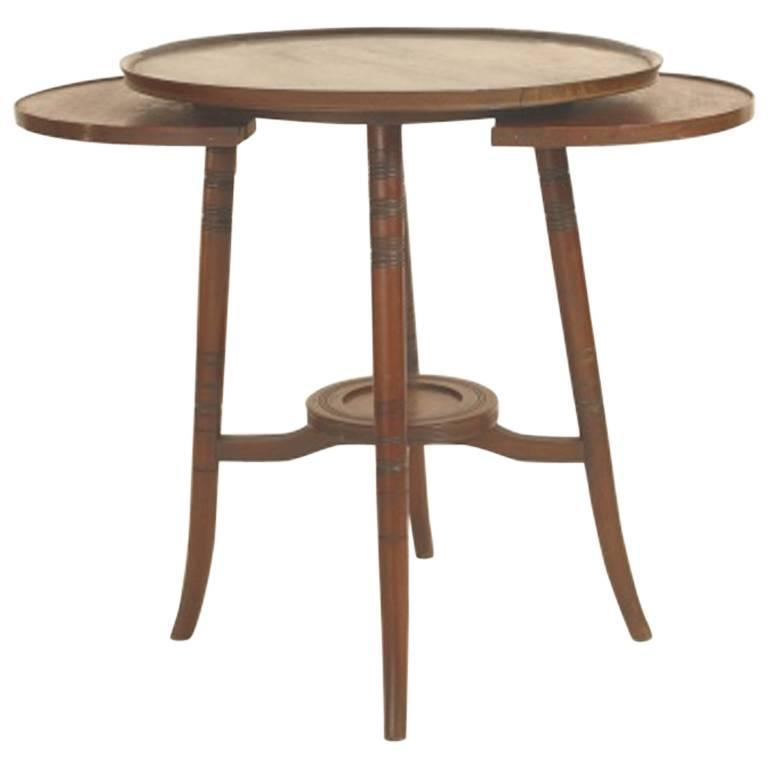 Anglo japanese walnut side table with revolving top for for Revolving end table