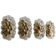 Four German Amber Bubble Glass Sconces Flush Mounts by Limburg, 1960s