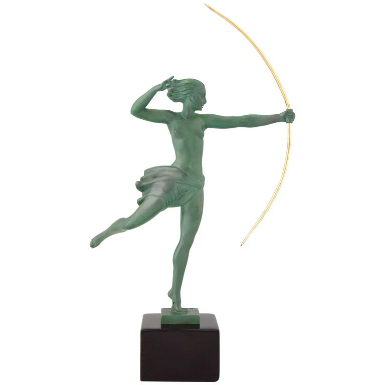 Balleste, French Art Deco Nude Tambourine Dancer C.1930s