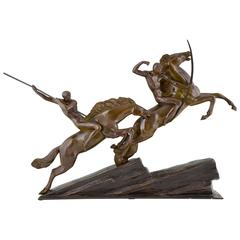 Large French Art Deco Bronze Group Archers on Horses by Armand Lemo, 1930