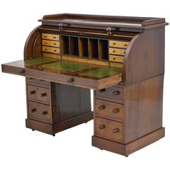 English Pedestal Desk in Mahogany with Cylinder Top, circa 1840