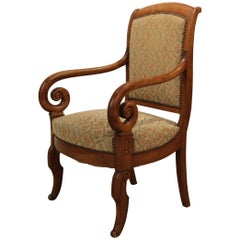 19th Century French Louis Philippe Carved Cherry Armchair